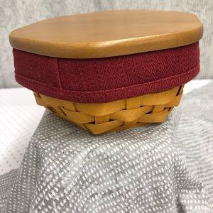 Longaberger 'Sage' basket with liner, insert, lid